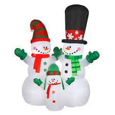 Inflatable Snowman Family Indoor / Outdoor Christmas Decor National Tree Company 144-in.