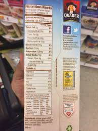 quaker instant oatmeal original calories nutrition ysis