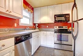 Red Tile Kitchen Floor Small Kitchen Room With Concrete Tile Floor Red Walls Steel