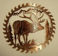 elk metal art wall saw blade wildlife rustic lodge