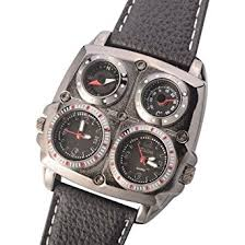 amazon com oulm 1140 men s dual time zones large black watch w oulm 1140 men s dual time zones large black watch w compass thermometer big
