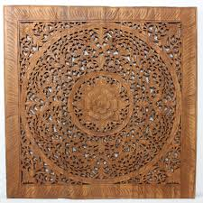 Wood Carved Wall Decor Wall Decor Teak Lotus Panel 36 Inch Square Carved Wood Thai Art