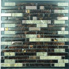 metal and glass tiles stainless steel backsplash wall tile brown crystal glass mosaic interlocking tile yb2023