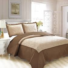 fancy collection 3pc luxury bedspread coverlet embossed bed cover solid tow tune taupe dark brown new over size full queen 100 x106 veronica
