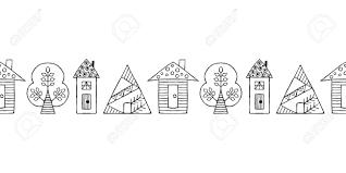 ベクターの手の描かれたシームレス パターンボーダー装飾様式幼稚な木家落書きスタイルトライバル