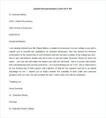 Free Letter Of Recommendation Template For College Recommendation Letter Templates Doc Free Premium Of Template