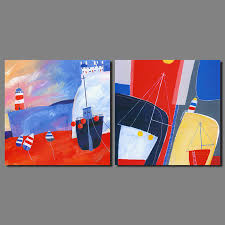 colorful boat cartoon drawing 2 pcs landscape children room decoration voyage canvas painting wall art home decor unframed in painting calligraphy from  on voyage decoration wall art with colorful boat cartoon drawing 2 pcs landscape children room