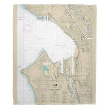 Wa Seattle Harbor Wa Nautical Chart Blanket In 2019