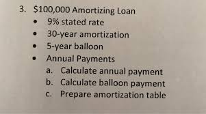 3 100 000 Amortizing Loan 9 Stated Rate 30 Year