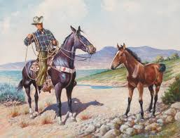 The main topic of mueller's works is the unity of humans and nature; Fine Art Cowboy And Colt By Daniel Cody Muller Daniel Cody Mul Cisco S Gallery