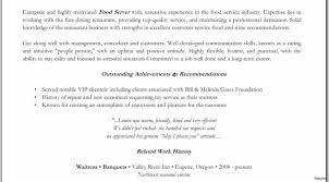 Resume Sample For Waiter Position Costumepartyrun