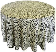 90 round zebra printed satin tablecloth overlay canary yellow black 81516 1pc pk