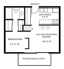 Small  Bedroom House Plans Throughout One Bedroom Apartments - Rental apartment one bedroom apartment open floor plans