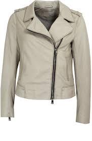 oui off white leather biker jacket