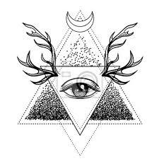 Obraz Vše Vidí Symbol Oka Přes Růžový Květ A Jelena Parohy Posvátná