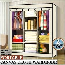 cloth storage shelves triple fabric canvas wardrobe clothes storage organiser cabinet cupboard shelves fabric storage bins