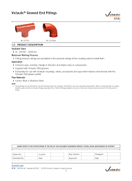 Victaulic Groove Dimension Chart Victaulic Grooved End Fittings