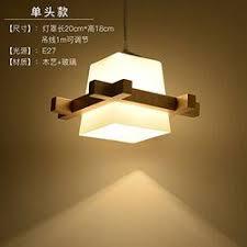 Japanese single head <b>wooden chandelier wood glass</b> lamp <b>Nordic</b> ...