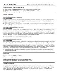 Commercial Real Estate Appraiser Sample Resume