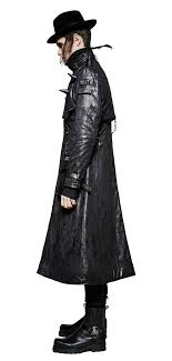 faux leather black long coat with peaks gothic punk rock punk rave y 699