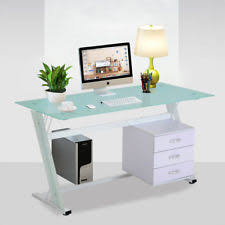 glass office furniture. Home Computer Desk PC Table Office Furniture Work Station Glass Top Side Drawers