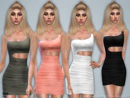 The Sims Resource: One Shoulder Cut Out Dress 02 by Black Lily • Sims 4  Downloads