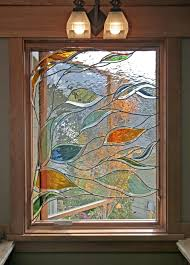 Stained Glass Window Designs For Bathrooms Stained Glass Window In Bathroom Depicting Blowing Branches