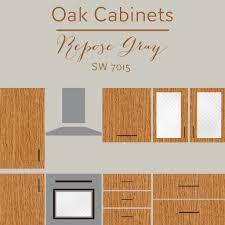 oak cabinets repose gray wall color