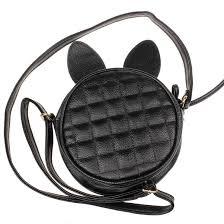 fashiongirl rabbit ear round leather handbag shoulder bag large tote las purse cross single shoulder bag gift satchels leather purses from