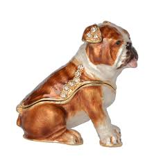 Enameled <b>Pewter</b> Ornament Crystal Bejeweled Bulldog <b>Trinket</b> Box ...