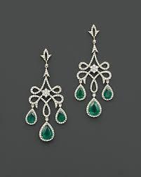 emerald chandelier earrings diamond emerald drops gold