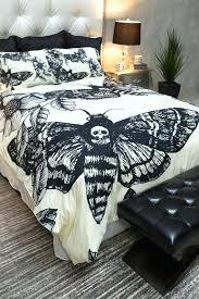 skull duvet cover queen featherweight moth skull bedding black skull moth print on cream comforter
