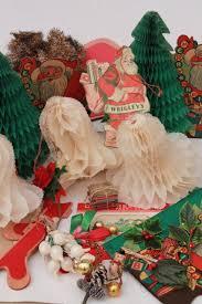 lot vintage Christmas decorations, Santas holiday diecuts honeycomb paper  etc.