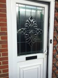 double glazed entrance door high security special beveled stained glass design