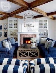 Beach-style cottage living room. I love the stripes! Blue and ...