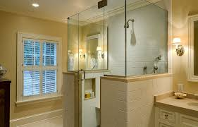 shower with half wall bathroom traditional glass door ideas framing half wall frameless shower enclosure