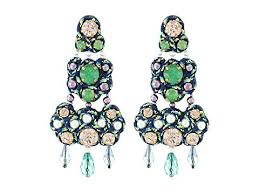 turquoise green blue vintage gold tory burch beaded chandelier earrings hbjftq