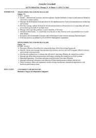 Telecommunications Manager Resume Samples Velvet Jobs