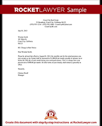 Rent Increase Form California Rent Increase Letter Template Rent Increase Notice Rocket Lawyer