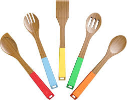colorful kitchen utensils. Vremi 5 Piece Bamboo Spoons Cooking Utensils - Wooden And Spatula Utensil Set Wood Nonstick For Kitchen With Colorful F