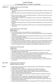 Data Management Resume Sample Clinical Data Manager Resume Samples Velvet Jobs