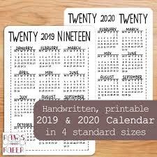 2020 Year At A Glance Calendar Template 2019 2020 Printable Calendar Year At A Glance Planner