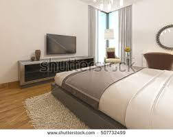 bedroom modern with tv. Modern TV Unit In A Hotel Room Of Art Deco. 3D Render. Bedroom With Tv