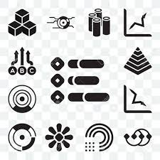 Set Of 13 Transparent Icons Such As Infographic Points Connected