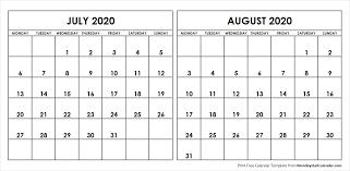 July August 2020 Calendar Monday Start Editable Two Months