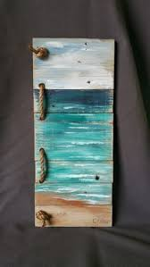 upcycled reclaimed wood pallet wall art hand painted seascape with rope accent beach sign cottage upcycled distressed shabby chic on hand painted wood wall art with beach pallet wall art handmade hand painted seascape with rope