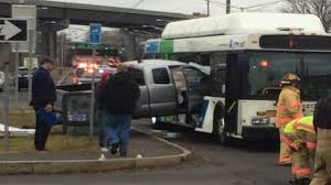 Pickup Truck Hits Bus - Best Truck In The World