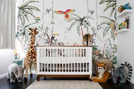 a colorful jungle safari nursery