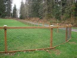 chain link fence. Chain Link Fence With Cedar Wood Trim