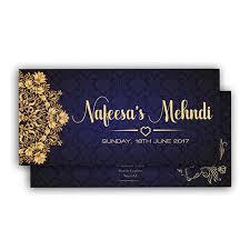 Navy Royal Muslim Mehndi Card Diamond Wedding Cards